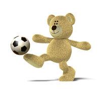 Nhi Bear kicking a soccer ball