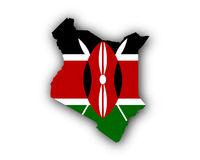 Karte und Fahne von Kenia - Map and flag of Kenya