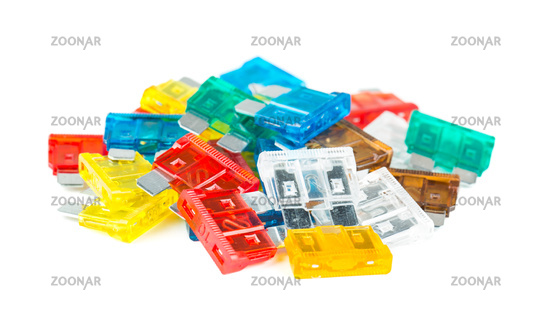 Pile of colorful fuses for auto