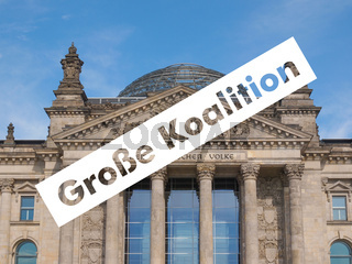 Grosse Koalition over Reichstag parliament in Berlin