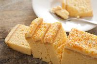 Freshly baked sliced lemon vanilla cake