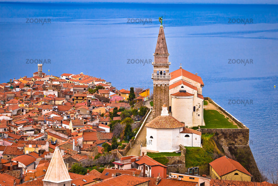 Town of Piran on Adriatic sea historic landmarks and rooftops view