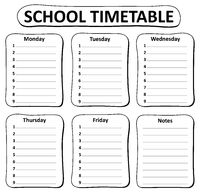Black and white school timetable theme 1 - picture illustration.
