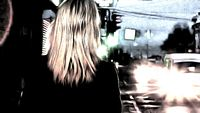 Rear view of girl in the night street watercolor in low saturated colors