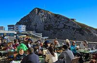 Visitors on the sun terrace of the hotel Pilatus Bellevue, Mount Pilatus, Alpnachstad, Switzerland