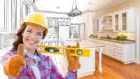 Female Construction Worker In Front of Custom Kitchen Drawing Gradating to Finished Kitchen Photo.