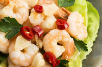 shrimps cooked with garlic and chilli