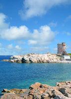 historical Watchtower in Marciana Marina,Island of Elba,Tuscany,mediterranean Sea,Italy