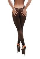 Pretty sexy blonde in black nylon overalls