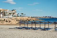 Empty beach of Cabo Roig in autumn. Costa Blanca. Spain