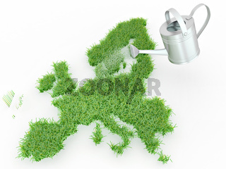 Watering lawns in the form of Europe. 3d