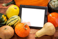 blank digital tablet with pumpkin and squash