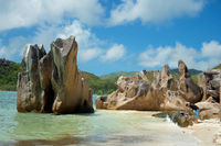 Famous granite rocks at the island of Curieuse