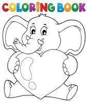 Coloring book elephant holding heart