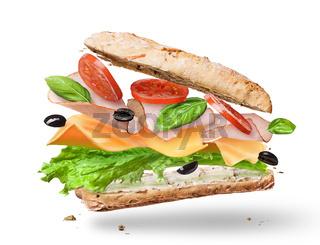 Ciabatta Sandwich with Lettuce, Tomatoes, Ham