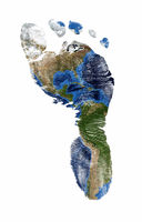 Foot print of North and South America