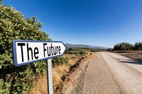 Road sign for the first step to the future