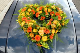floral arrangement on car