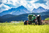 Old tractor in the Alpine meadows