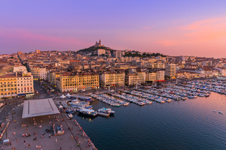 Marseille, France - August 03, 2017: Old Port and Basilica of Notre Dame