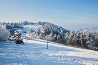 Rolled-country skiing and ski lift
