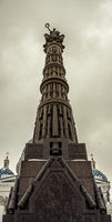 Column of Glory monument in front of Holy trinity cathedral in St Petersburg Russia
