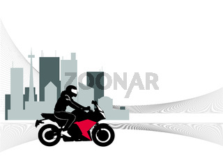 Image of motorcyclist riding on the background of the city