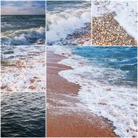 Set of sea water and coast images, collage fo tourism and recreation illustration. Toned color