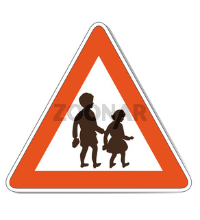 Red white colored children warning sign with isolated white background.