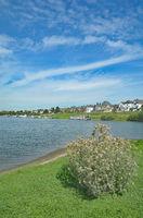 Leverkusen-Hitdorf at Rhine River,North Rhine Westphalia,Germany