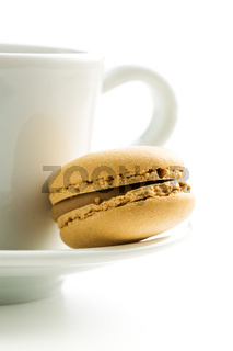 Coffee macarons and coffee cup.