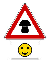 Warnschild mit Zusatzschild und Smiley - Attention sign with optional label and smiley