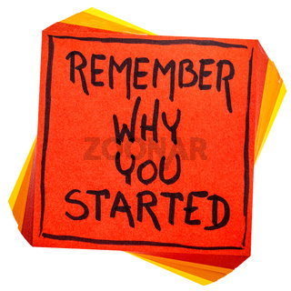 Remember why you started note