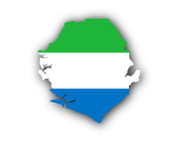 Karte und Fahne von Sierra Leone - Map and flag of Sierra Leone