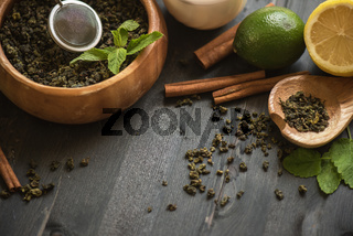 tea composition closeup