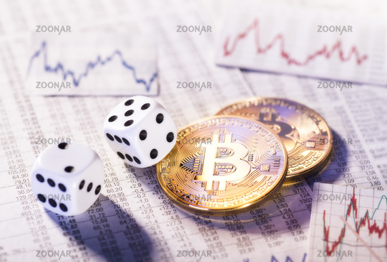 Cryptocurrency Bitcoin with dice