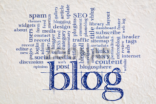 blog  word cloud on paper
