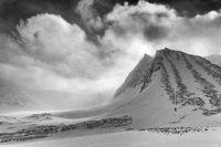 Landscape in snow drift, Unna Reaiddavaggi, Lapland, Sweden