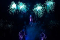 Colorful blue fireworks