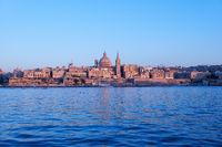 The evening view of Valletta skyline from Sliema. Malta