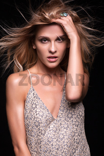 Portrait of beauty young  woman in summer casual dress with shaggy hair
