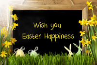Sunny Narcissus, Egg, Bunny, Text Wish You Easter Happiness