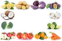 Obst und Gemüse Früchte Äpfel, Orangen Tomaten Zitronen Essen Rahmen Textfreiraum Copyspace