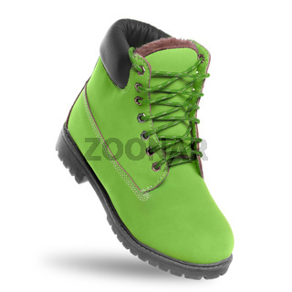 Green boot. Angle view