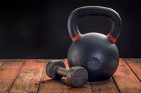 iron kettlebell and dumbbell