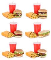 Hamburger Sammlung Collage Cheeseburger Menü mit Pommes Frites Getränk Freisteller freigestellt