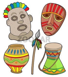 African tribal collection - isolated illustration.
