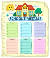 Weekly school timetable thematics 7 - picture illustration.