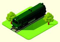 train locomotive vector isometric