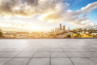 empty floor with cityscape of los angeles